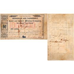 Messenger & Vanderbilt Gold & Silver Mining Co. Stock Certificate, Virginia City, Nevada Territory,