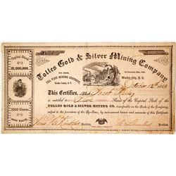 Tolles Gold & Silver Mining Co. Stock Certificate, Peavine District, Washoe Co., Nevada Territory