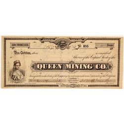 Queen Mining Co. Stock Certificate, Flowery District, 1876, GT Brown Lith.