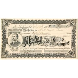 Mackay Gold & Silver Mining Company Stock Certificate, 1897
