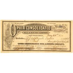Ophir Consolidated Mill & Mining Co. Stock Certificate, 1879