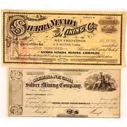 Sierra Nevada Mining Company Proof & Issued Stock Certificates, Virginia City, Nevada