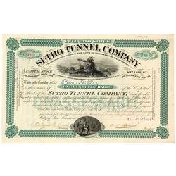 Sutro Tunnel Company Stock Certificate, 1883