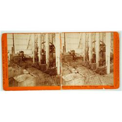 Stereoview of Interior of Ophir Hoisting Works, Virginia City, Nevada
