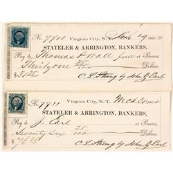 Territorial Stateler & Arrington Checks signed by president John Earl