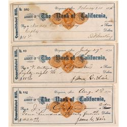 Three Consolidated Mill Revenue Checks, Mackay & Fair Signatures, Virginia City, Nevada