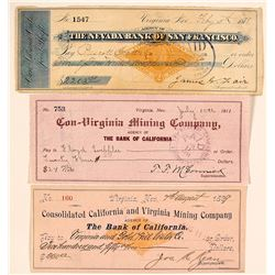 Con-Virginia & California Mining Co. Check Trio, Virginia City, Nevada