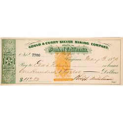 Gould & Curry Silver Mining Co. Revenue Check Signed by Philip Deidesheimer