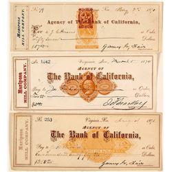 Three Different Mariposa Mill Revenue Checks incl. Rare RN-B16, Fair & Mackay Signatures