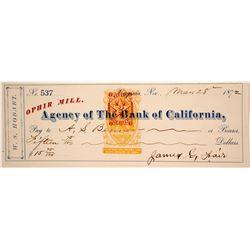 Ophir Mill Revenue Check, RN-B16a, Signed by James Fair, Virginia City, Nevada