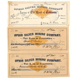 Ophir Mining Company Revenue Check Trio, Virginia City, Nevada