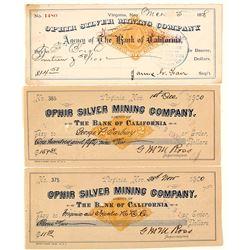 Ophir Mining Company Revenue Check Trio, Virginia City, Nevada