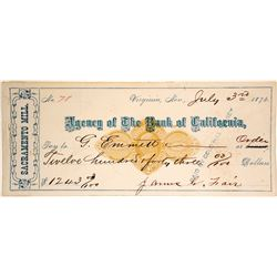 Sacramento Mill Revenue Check, RN-D4, Signed by James Fair, Unlisted Brown