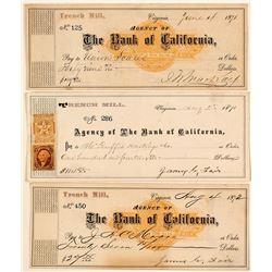 Three Different Trench Mill Revenue Checks incl. Fair & Mackay Signatures, Virginia City, Nevada