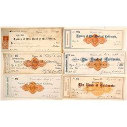 Six Different Comstock Mill Revenue Checks incl. Fair Signatures, Virginia City, Nevada
