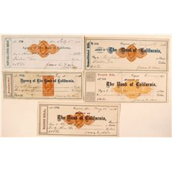 Five Different Virginia City Mill Revenue Checks Signed by James Fair