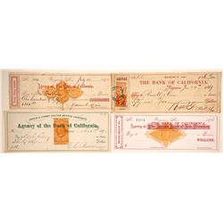 Four Different Virginia City, Nevada Mining Checks