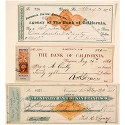 Three Scarce Virginia City Mining Revenue Checks