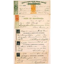 Virginia City, Nevada Mine Superintendent Check Collection incl. Territorial