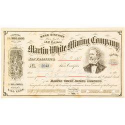 Martin White Mining Co. Stock Certificate, Ward District, White Pine County, Nevada 1878