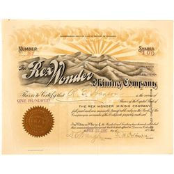 The Rex Wonder Mining Co. Stock Certificate, 1907