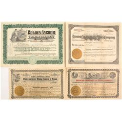 Four Different Western Nevada Mining Stock Certificates