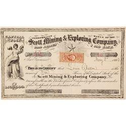 Scott Mining & Exploring Company Stock Certificate