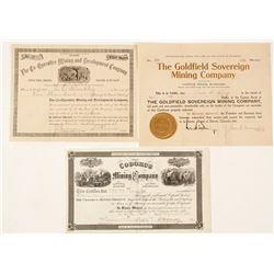 Three Mining Stock Certificates (Nevada, Nebraska, & Pennsylvania)