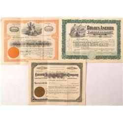 Three Western Nevada Mining Stock Certificates