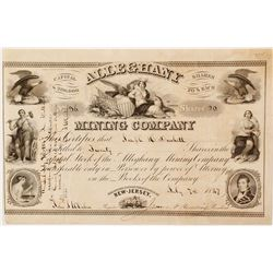 Alleghany Mining Company Stock Certificate, New Jersey, 1848
