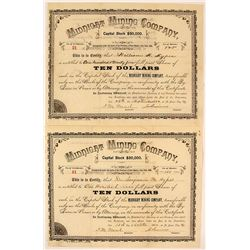Pair of Midnight Mining Company Stock Certificates, Chloride, NM  1886
