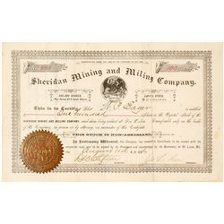 Sheridan Mining & Milling Co. Stock Certificate, Cooney, NM, 1886