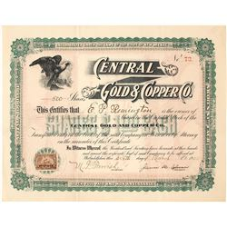 Central Gold & Copper Co. Stock Certificate, Mineral Hill, NM 1902