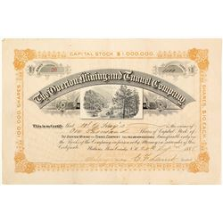 The Overton Mining & Tunnel Co. Stock Certificate, Watrous, NM 1888