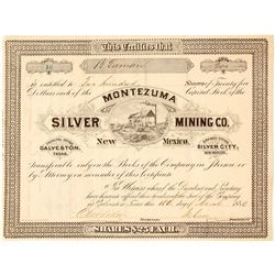 Montezuma Silver Mining Co. Stock Certificate, Silver City, NM 1880