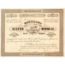 Montezuma Silver Mining Co. Stock Certificate, Silver City, NM 1880