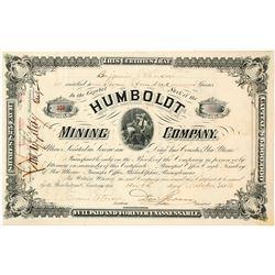 Humboldt Mining Company Stock Certificate, Socorro, NM 1884