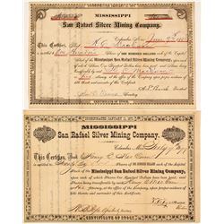 Mississippi San Rafael Silver Mining Company Stock Certificates