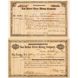 Mississippi San Rafael Silver Mining Company Stock Certificates