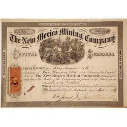 The New Mexico Mining Co. Stock Certificate, 1869, Gorgeous Vignette, New Placer District