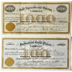 Two Similar Design 1890s New Mexico Mining Stock Certificates