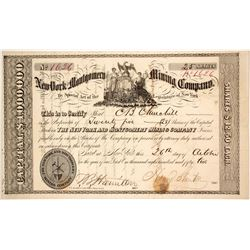 New York & Montgomery Mining Co. Stock Certificate, 1852