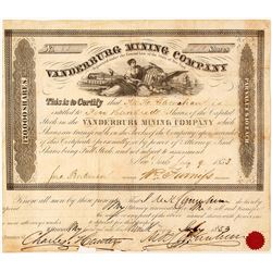Vanderburg Mining Company Stock Certificate