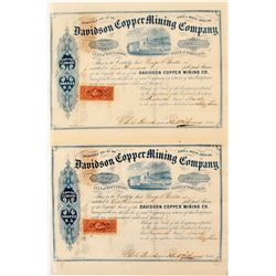 Pair of Davidson Copper Mining Company Stock Certificates