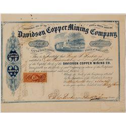 Davidson Copper Mining Company Stock Certificate