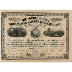 North Carolina Gold Mining and Reduction Company Stock Certificate 2