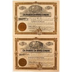 Pair of Piedmont Tin Mining Company Stock Certificates