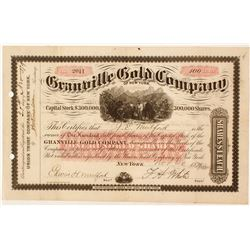 Granville Gold Company of New York Stock Certificate