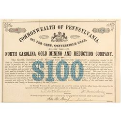 North Carolina Gold Mining and Reduction Company Bond