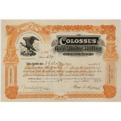 Colossus Gold Mining and Milling Company Stock Certificate